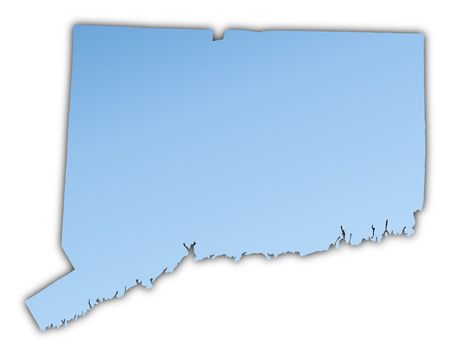 skyblue: Connecticut(USA) map light blue map with shadow. High resolution. Mercator projection.