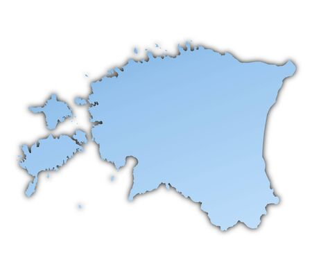 shading: Estonia map light blue map with shadow. High resolution. Mercator projection.