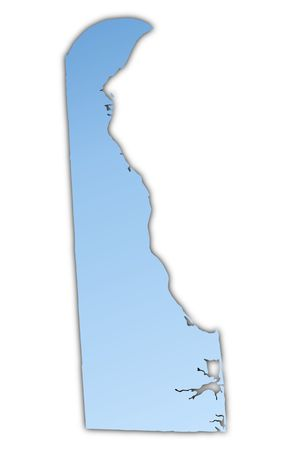 Delaware(USA) map light blue map with shadow. High resolution. Mercator projection.