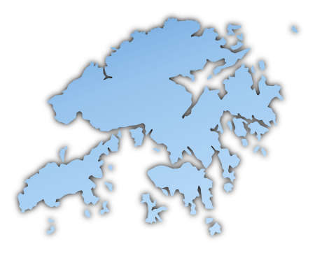 skyblue: Hong Kong map light blue map with shadow. High resolution. Mercator projection.