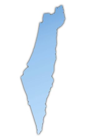 resolution: Israel map light blue map with shadow. High resolution. Mercator projection. Stock Photo