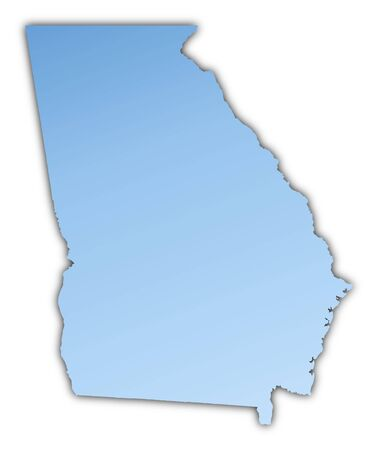 Georgia(USA) map light blue map with shadow. High resolution. Mercator projection.