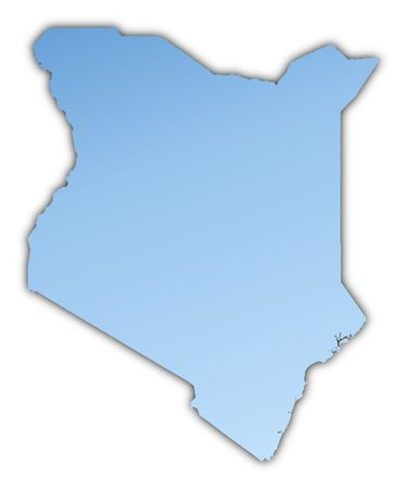 shading: Kenya map light blue map with shadow. High resolution. Mercator projection. Stock Photo