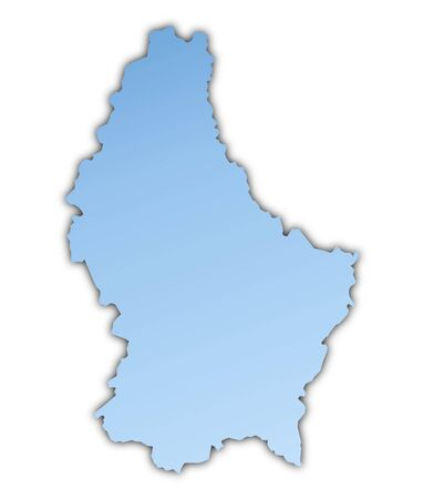 shading: Luxembourg map light blue map with shadow. High resolution. Mercator projection.