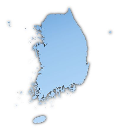 shading: South Korea map light blue map with shadow. High resolution. Mercator projection.