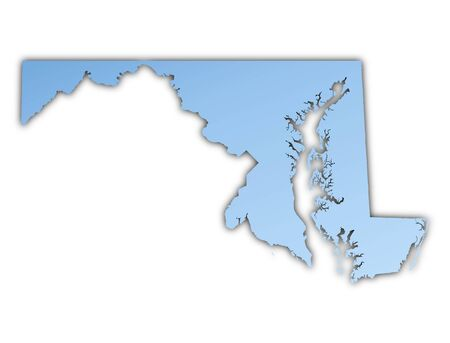 Maryland(USA) map light blue map with shadow. High resolution. Mercator projection.