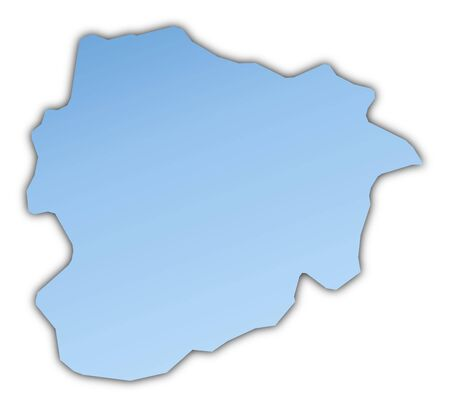 shading: Andorra map light blue map with shadow. High resolution. Mercator projection. Stock Photo