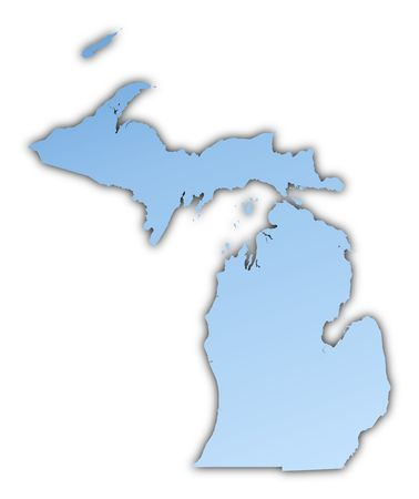 skyblue: Michigan(USA) map light blue map with shadow. High resolution. Mercator projection. Stock Photo