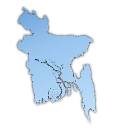 shading: Bangladesh map light blue map with shadow. High resolution. Mercator projection. Stock Photo