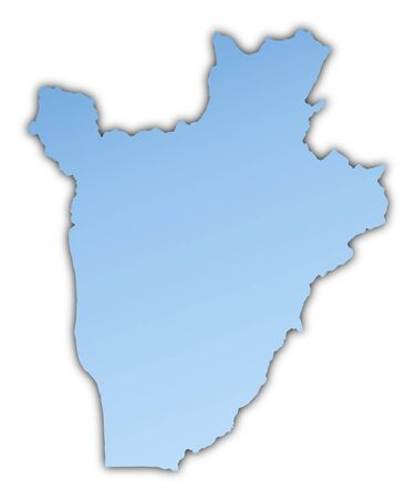 Burundi map light blue map with shadow. High resolution. Mercator projection. Stock Photo - 3432214