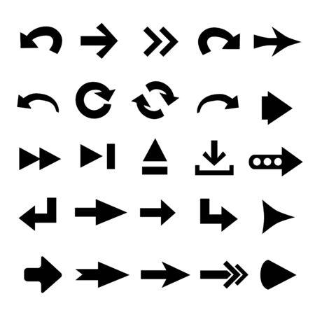 right arrow: Set of 25 arrow shape variations