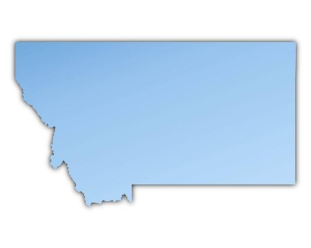 shading: Montana(USA) map light blue map with shadow. High resolution. Mercator projection. Stock Photo