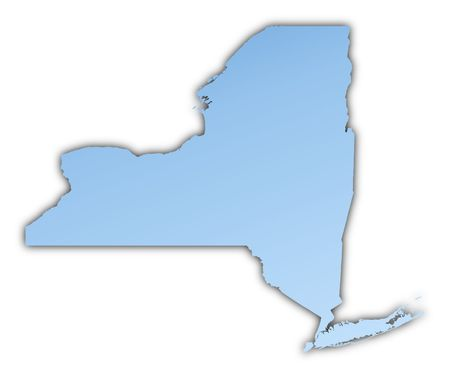 skyblue: New York(USA) map light blue map with shadow. High resolution. Mercator projection. Stock Photo