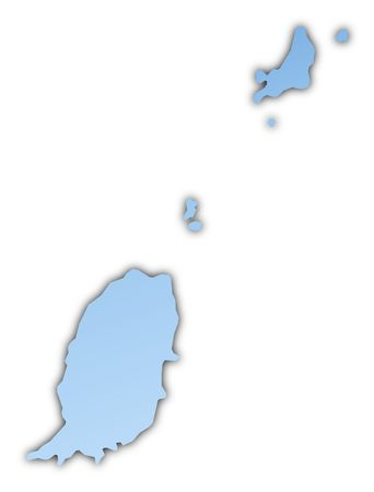 shading: Grenada map light blue map with shadow. High resolution. Mercator projection.