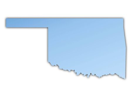 Oklahoma(USA) map light blue map with shadow. High resolution. Mercator projection.