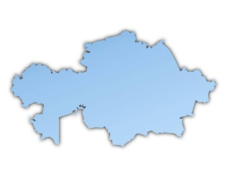 Kazakhstan map light blue map with shadow. High resolution. Mercator projection. Stock Photo