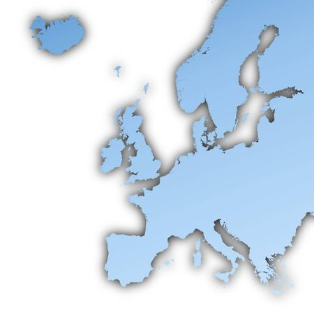 Europe map light blue map with shadow. High resolution. Mercator projection. Stock Photo