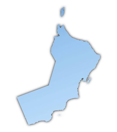 shading: Oman map light blue map with shadow. High resolution. Mercator projection.