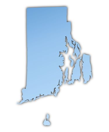 Rhode Island(USA) map light blue map with shadow. High resolution. Mercator projection.