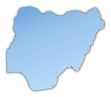 skyblue: Nigeria map light blue map with shadow. High resolution. Mercator projection.