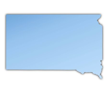 shading: South Dakota(USA) map light blue map with shadow. High resolution. Mercator projection. Stock Photo