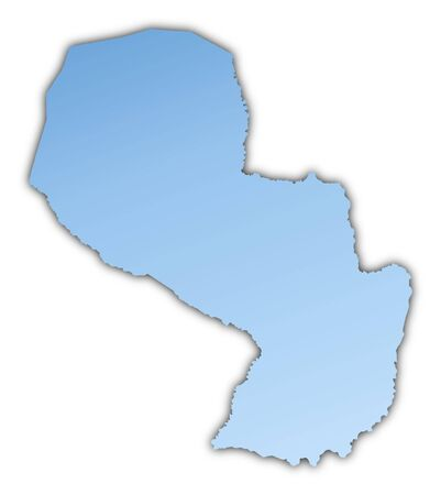 paraguay: Paraguay map light blue map with shadow. High resolution. Mercator projection. Stock Photo