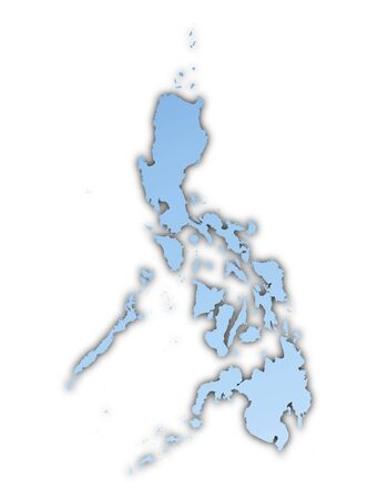 philippines  map: Philippines map light blue map with shadow. High resolution. Mercator projection.