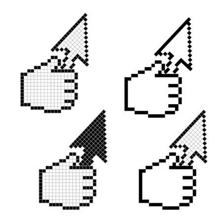 cursor in hand pixels illustration Stock Illustration - 3478034