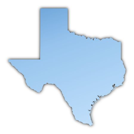 Texas(USA) map light blue map with shadow. High resolution. Mercator projection.