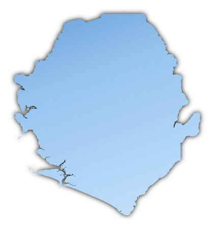 shading: Sierra Leone map light blue map with shadow. High resolution. Mercator projection.