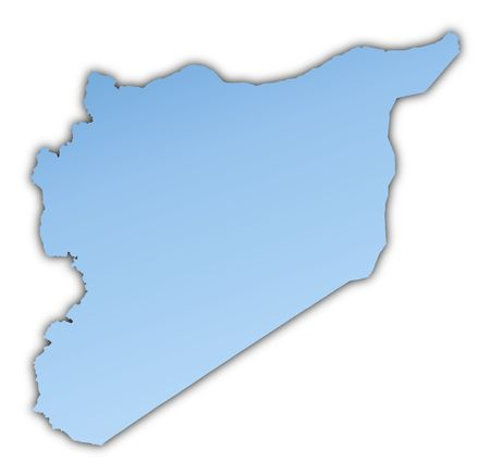 skyblue: Syria map light blue map with shadow. High resolution. Mercator projection.