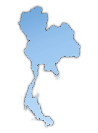 Thailand map light blue map with shadow. High resolution. Mercator projection. photo