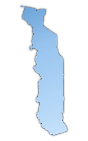 skyblue: Togo map light blue map with shadow. High resolution. Mercator projection.