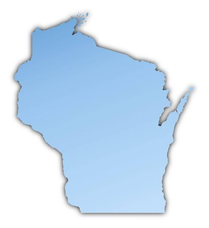 Wisconsin(USA) map light blue map with shadow. High resolution. Mercator projection.