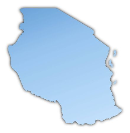 skyblue: Tanzania map light blue map with shadow. High resolution. Mercator projection. Stock Photo