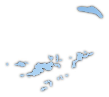 shading: British Virgin Islands map light blue map with shadow. High resolution. Mercator projection. Stock Photo