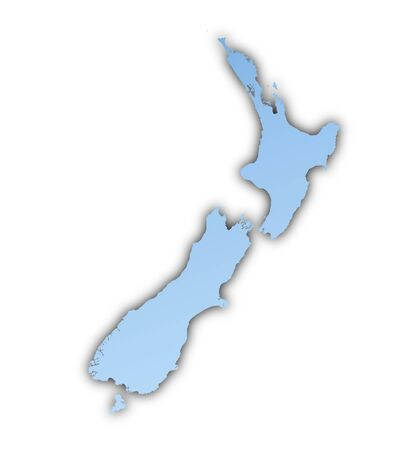 zealand: New Zealand map light blue map with shadow. High resolution. Mercator projection. Stock Photo