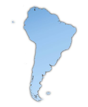 skyblue: South America map light blue map with shadow. High resolution. Mercator projection.