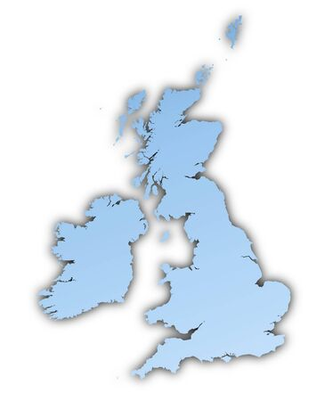 skyblue: United Kingdom map light blue map with shadow. High resolution. Mercator projection.