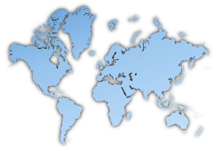 shading: World map light blue map with shadow. High resolution. Mercator projection. Stock Photo