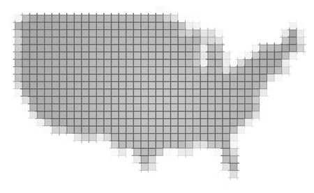 recolor: United States map pixels mosaic. Easy to recolor. Stock Photo