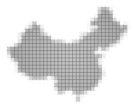 recolor: China map pixels mosaic. Easy to recolor. Stock Photo