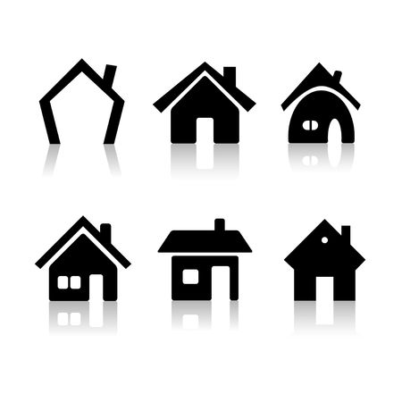 home icon: Set of 6 house icon variations