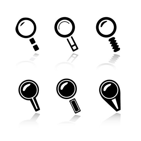 magnification icon: Set of 6 magnifier  search icon variations Stock Photo