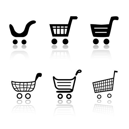 cart: Set of 6 shopping cart icon variations