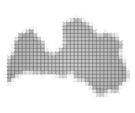 fill: Latvia map pixels mosaic. Easy to recolor.