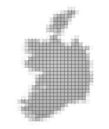recolor: Ireland map pixels mosaic. Easy to recolor. Stock Photo