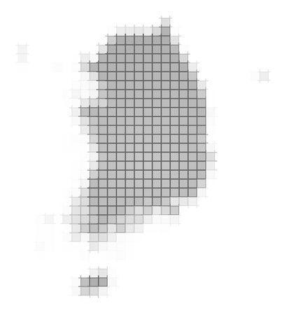 South Korea map pixels mosaic. Easy to recolor. photo
