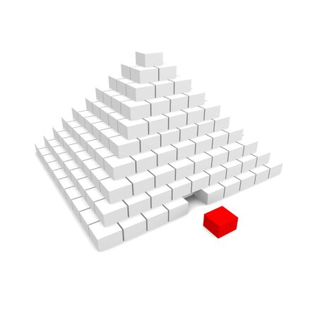 terraced: Pyramid with missing block. 3d rendered image.