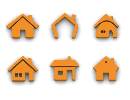 house logo: Set of 6 house 3d rendered icon variations Stock Photo